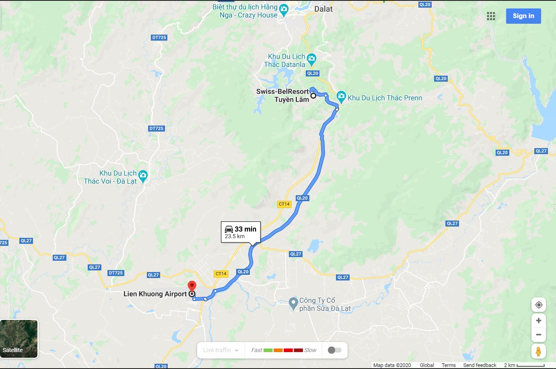 Bản đồ di chuyển từ sân bay Liên Khương đến Swiss Belresort Tuyền Lâm