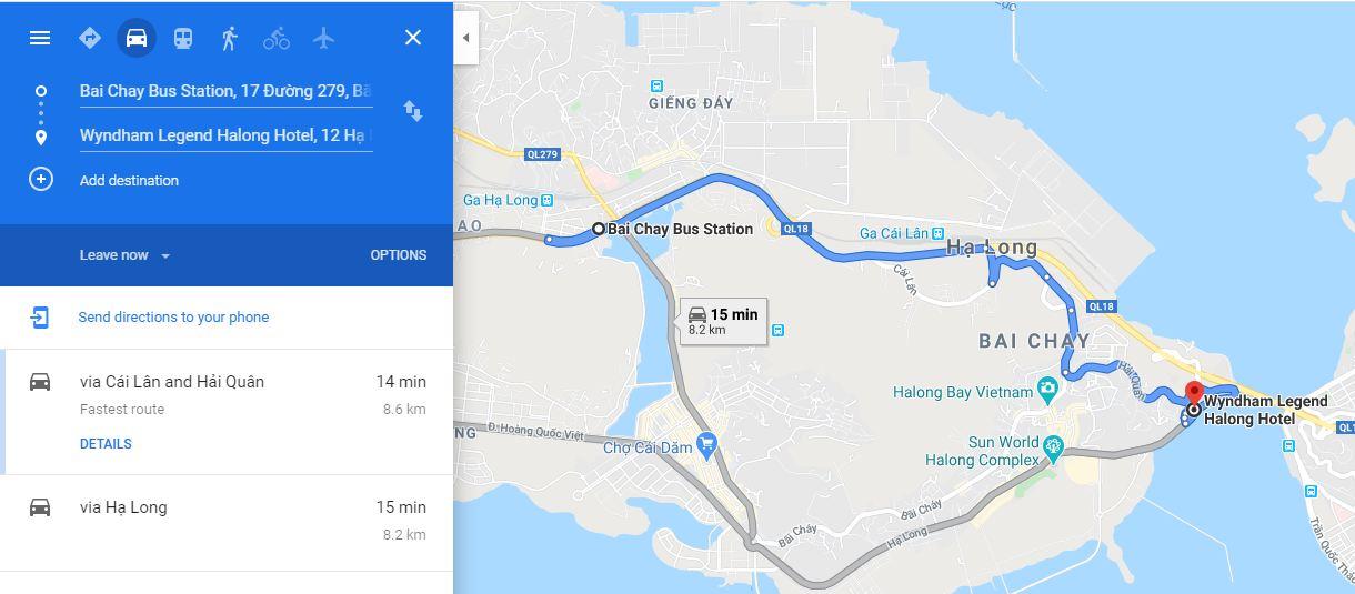 Chỉ đường tới khách sạn Wyndham Legend Hạ Long