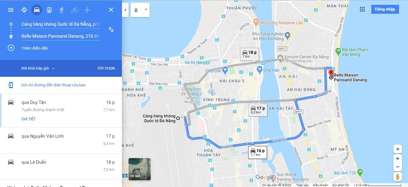 Hướng dẫn di chuyển từ sân bay về khách sạn Belle Maison Parosand Đà Nẵng