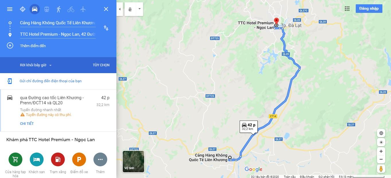 Quãng đường từ sân bay Liên Khương tới khách sạn TTC Hotel Premium Ngọc Lan Đà Lạt