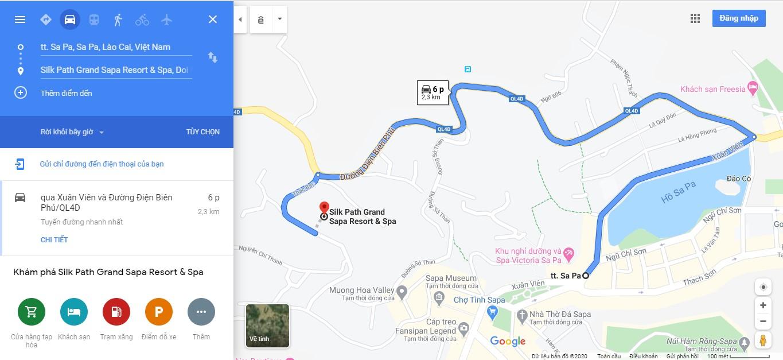Quãng đường từ trung tâm thị xã Sapa về Silk Path Hotel & Resort SaPa