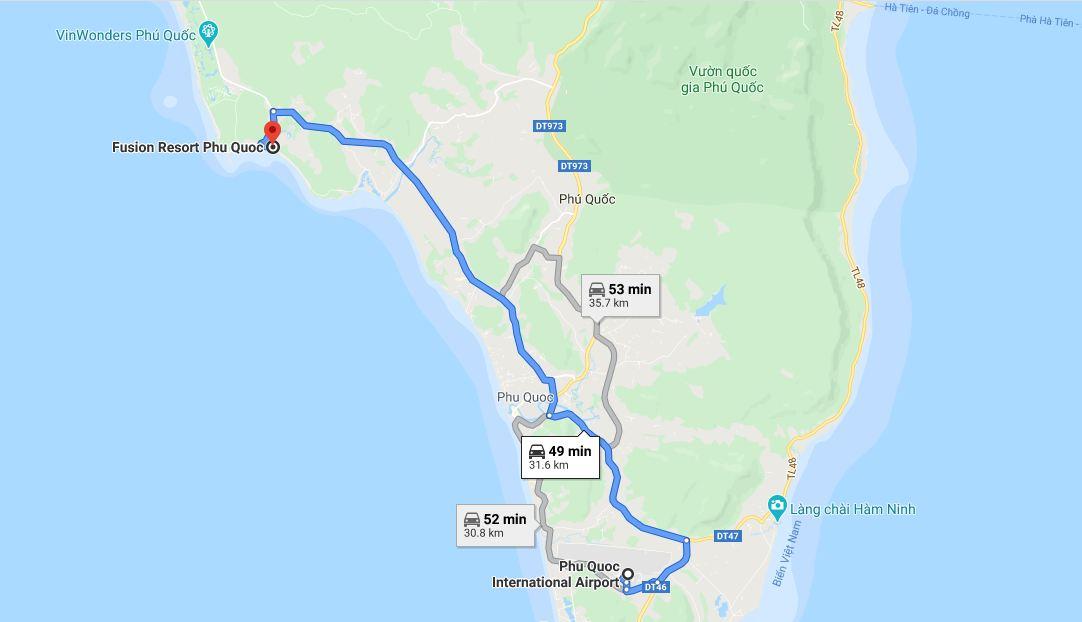 Khoảng cách từ sân bay Phú Quốc tới Fusion Resort Phú Quốc