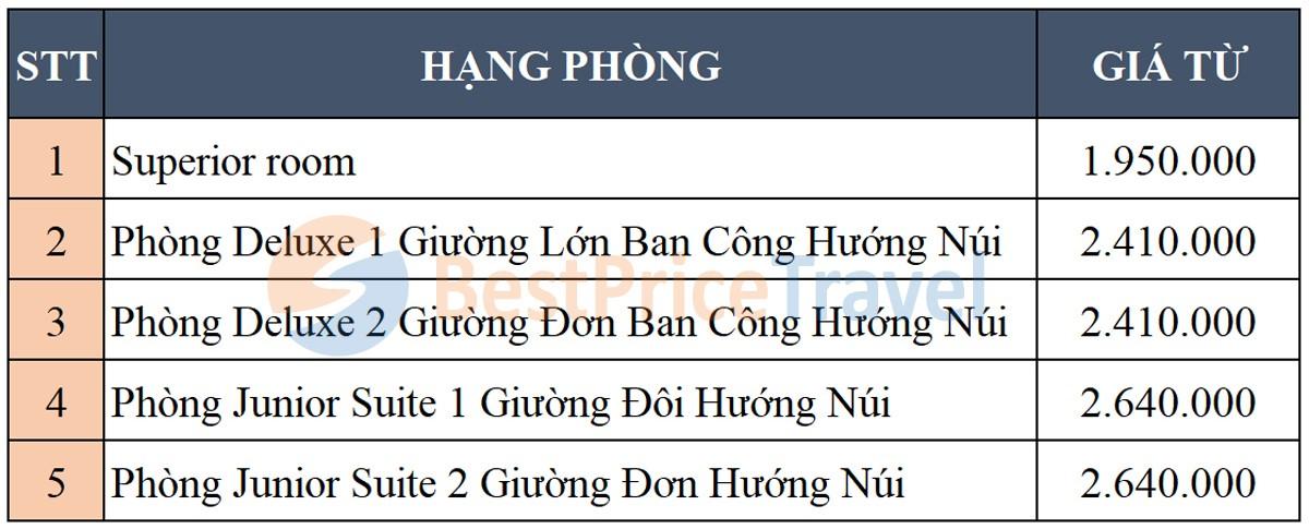 Bảng giá phòng tham khảo Legacy Yên Tử năm 2019