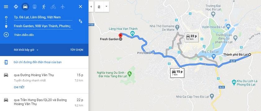 Đường từ trung tâm thành phố đến khu du lịch Fresh Đà Lạt