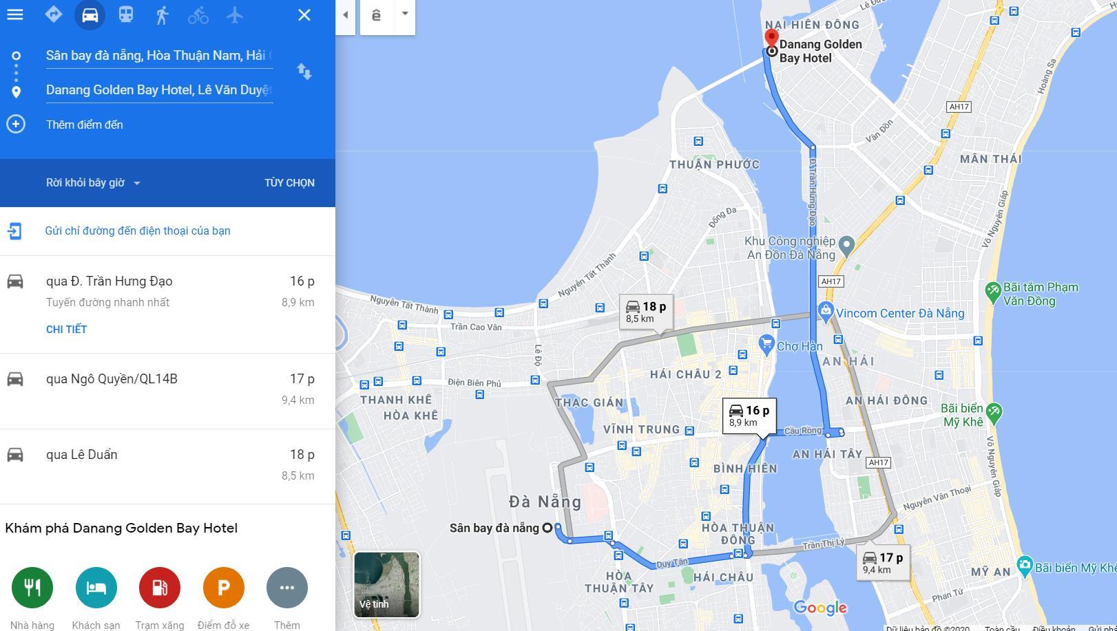 Cách di chuyển đến Đà Nẵng Golden Bay Hotel