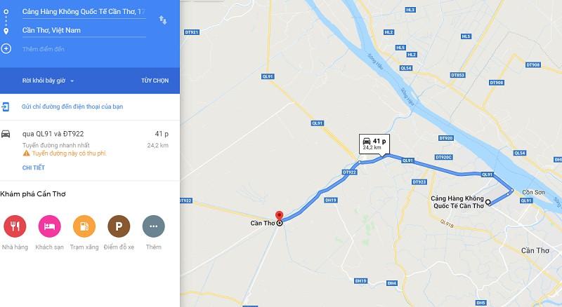 Thời gian đi từ sân bay Cần Thơ (VCA) đến trung tâm Cần Thơ?
