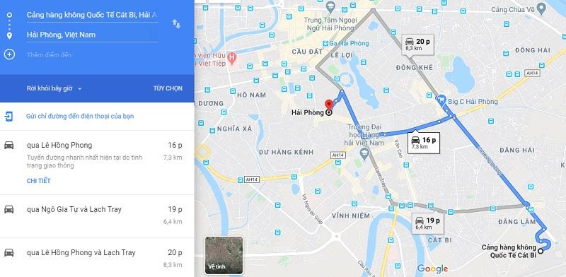 Thời gian đi từ sân bay Cát Bi đi về trung tâm thành phố Hải Phòng