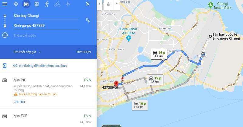 Thời gian đi từ sân bay Changi tới trung tâm