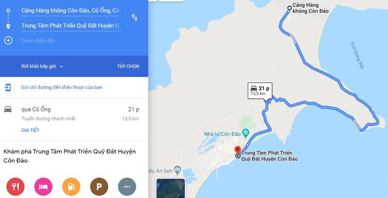 Thời gian di chuyển từ sân bay Côn Đảo về trung tâm