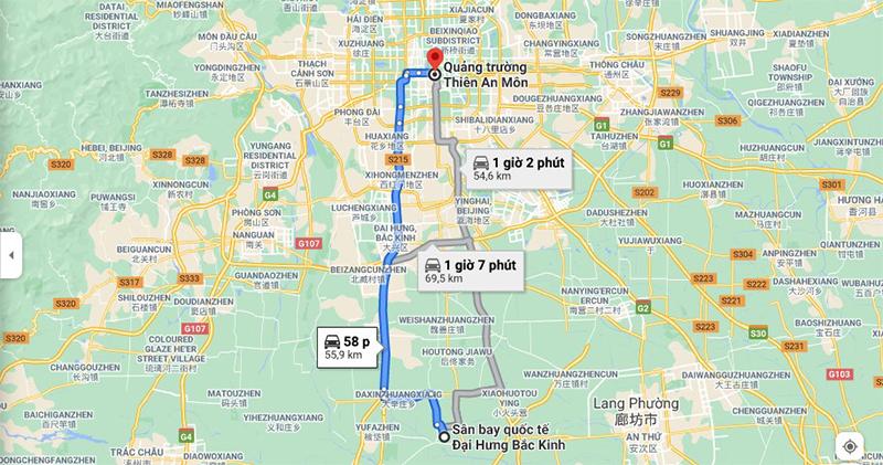 Di chuyển từ sân bay Đại Hưng đến trung tâm Bắc Kinh