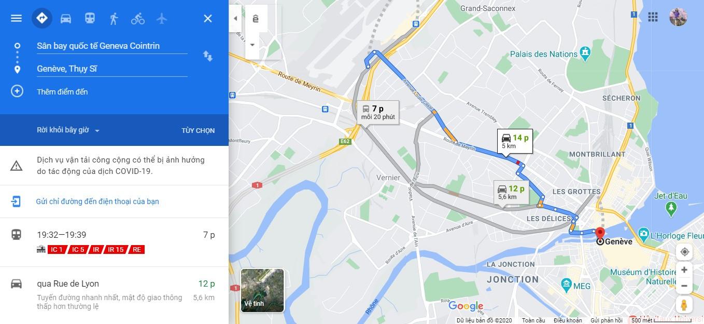 Thời gian di chuyển từ sân bay Geneva đến trung tâm thành phố Geneva