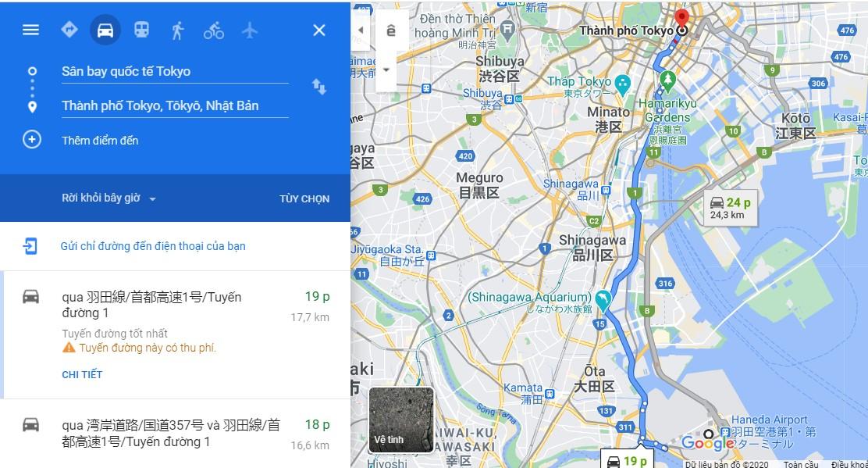 Thời gian di chuyển từ sân bay Haneda đến trung tâm thành phố