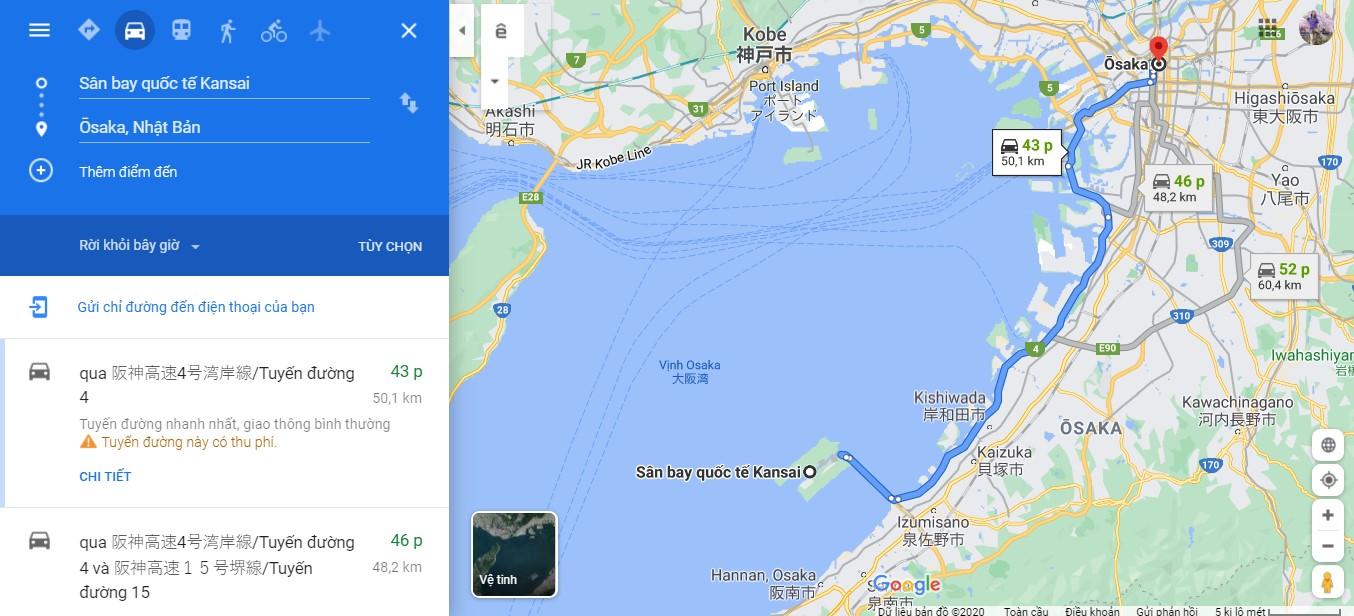 Thời gian di chuyển từ sân bay Kansai về trung tâm Osaka