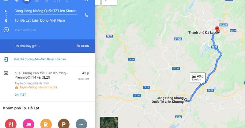 Thời gian di chuyển từ sân bay Liên Khương về trung tâm Đà Lạt