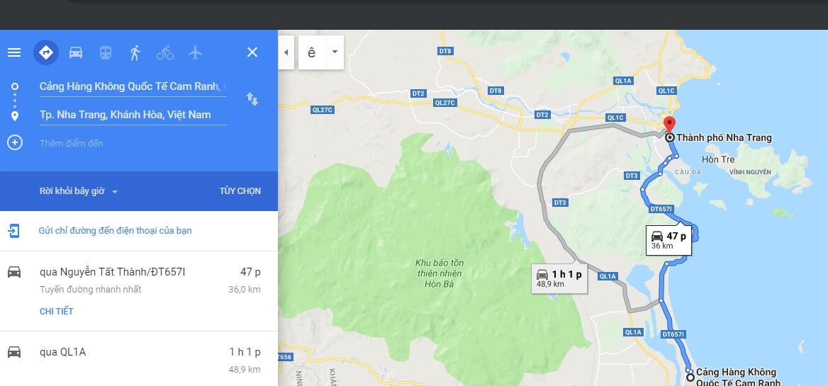 Thời gian di chuyển từ sân bay Nha Trang đến trung tâm thành phố
