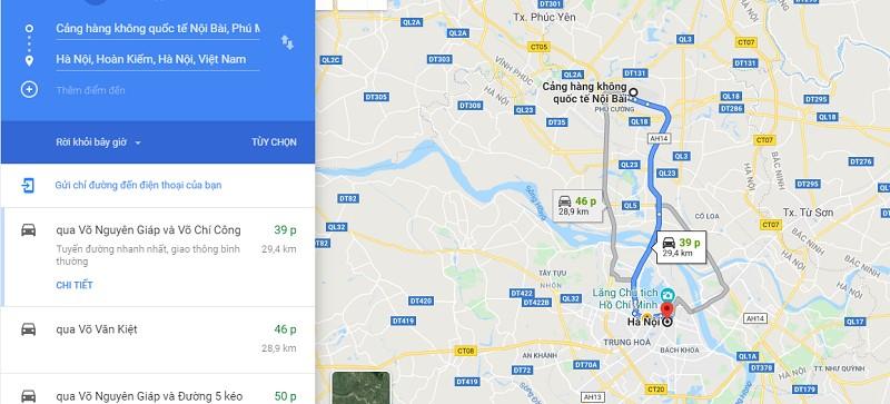 Thời gian di chuyển từ sân bay Nội Bài tới trung tâm thành phố