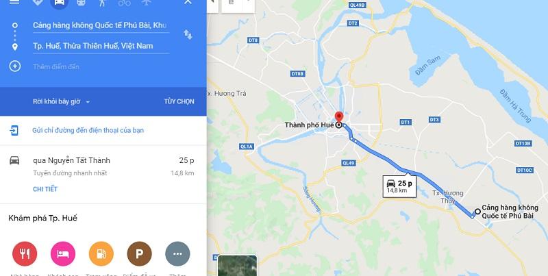 Thời gian di chuyển từ sân bay Phú Bài đến trung tâm thành phố Huế