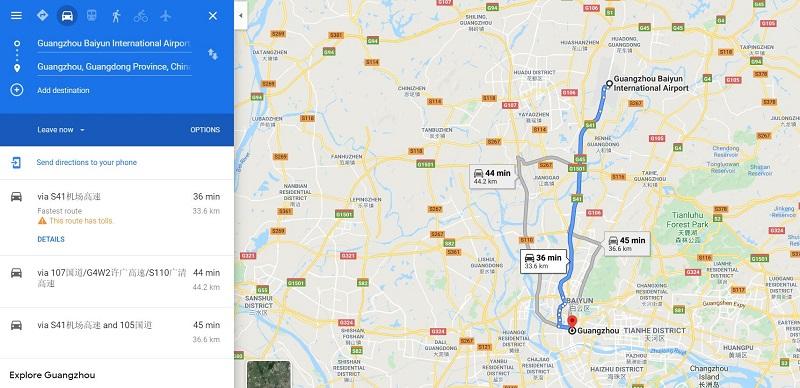 Thời gian di chuyển từ sân bay Quảng Châu về trung tâm thành phố