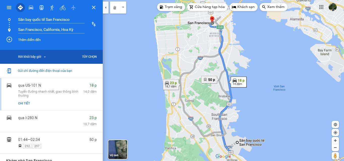 Thời gian đi từ sân bay San Francisco đến trung tâm thành phố San Francisco