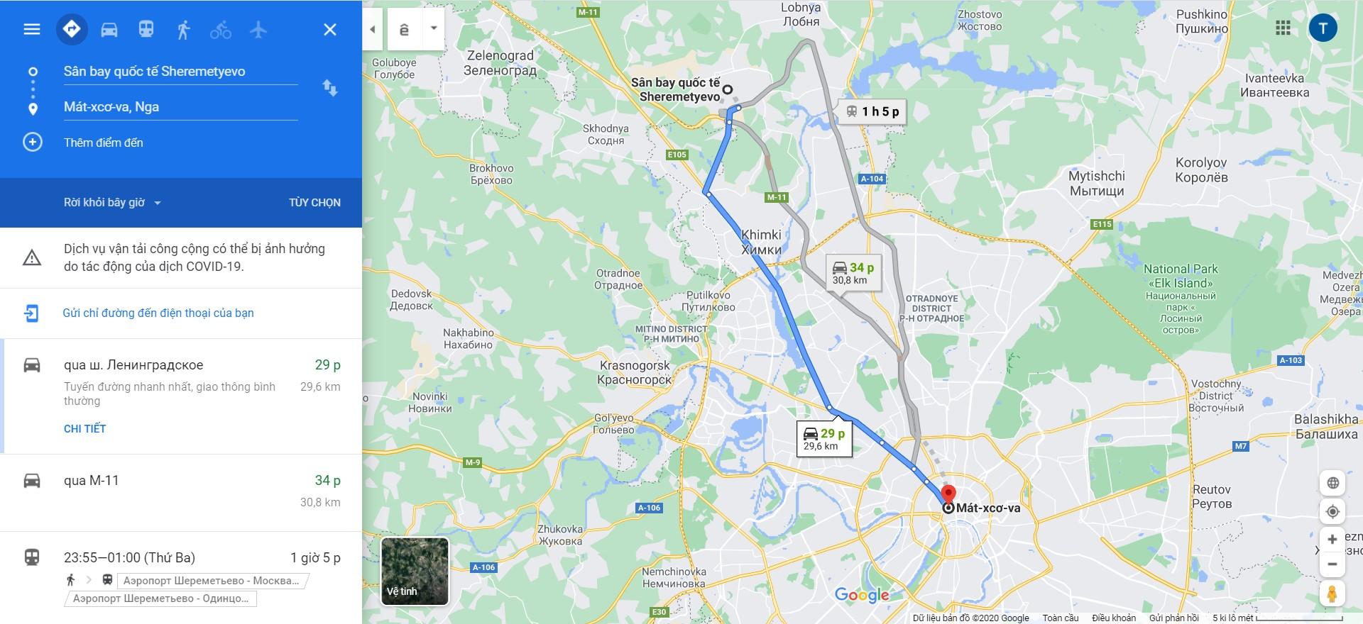 Thời gian di chuyển từ sân bay Sheremetyevo đến trung tâm thành phố Moscow