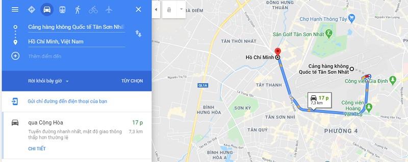 Thời gian di chuyển từ sân bay Tân Sơn Nhất về trung tâm Sài Gòn