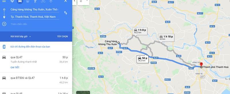 Thời gian đi từ sân bay Thọ Xương về trung tâm thành phố Thanh Hóa
