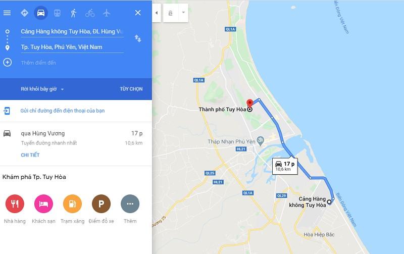 Thời gian đi từ sân bay Tuy Hòa đến trung tâm