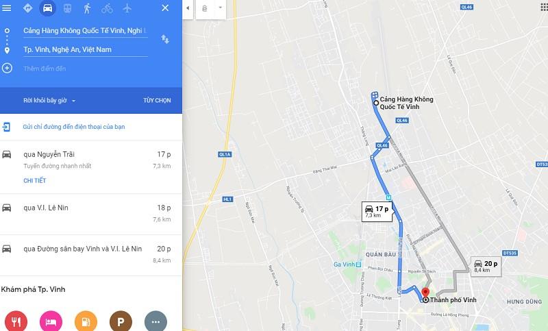 Thời gian đi từ sân bay Vinh (VII) tới trung tâm thành phố