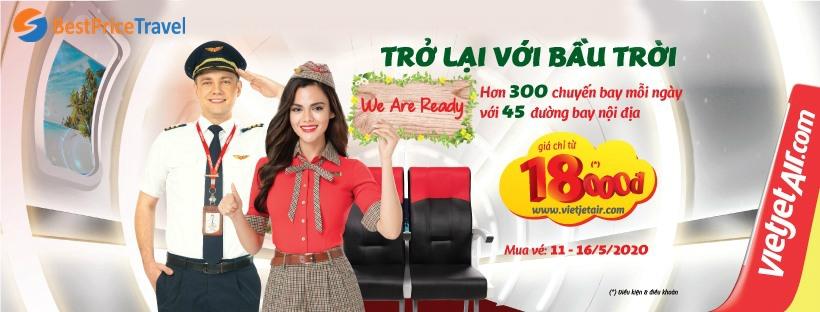 Khuyến mãi vé máy bay giá rẻ 18.000đ của Vietjet Air