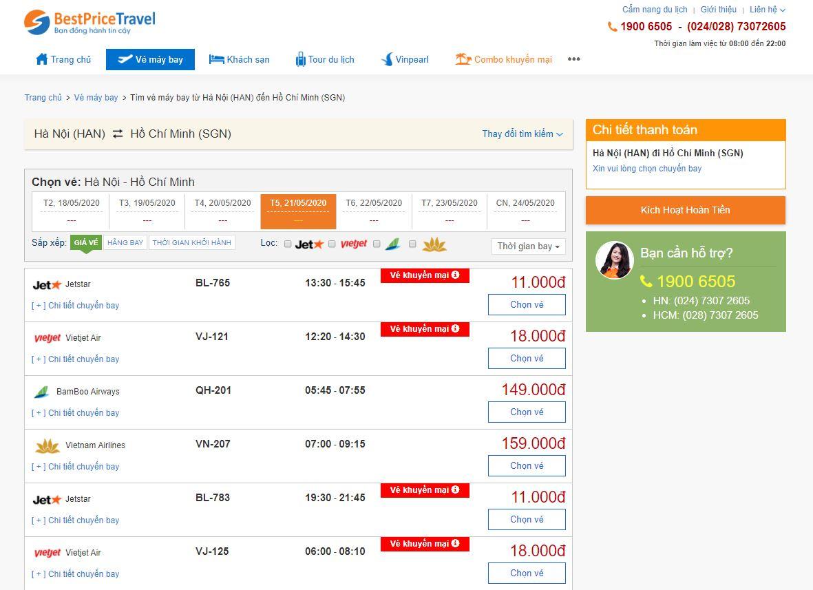 Vé máy bay giá rẻ 18.000đ tại bestprice.vn