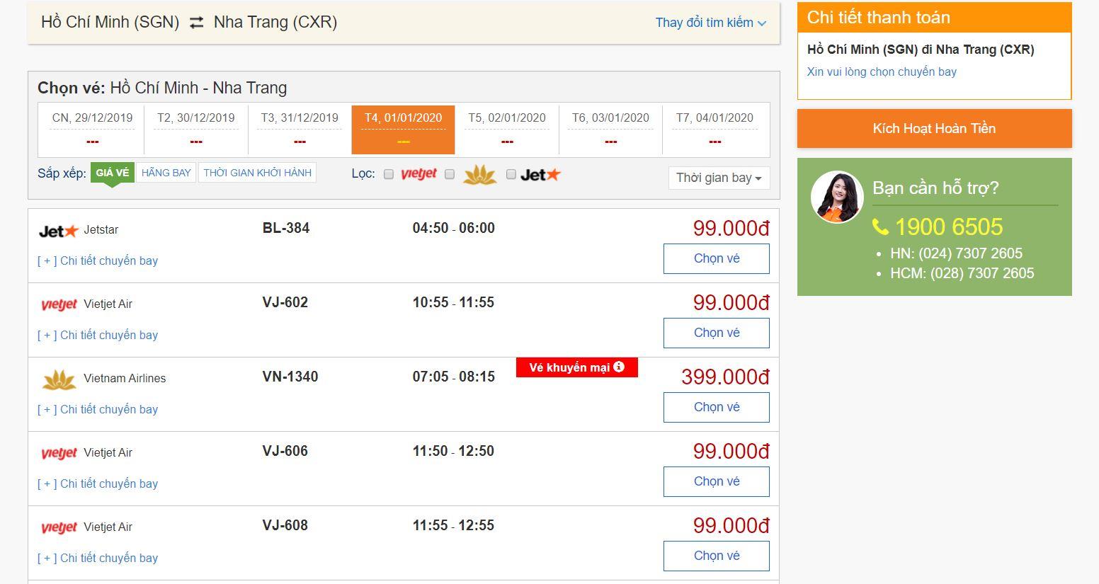 Giá vé máy bay Tết dương lịch chỉ từ 99.000đ tại bestprice.vn