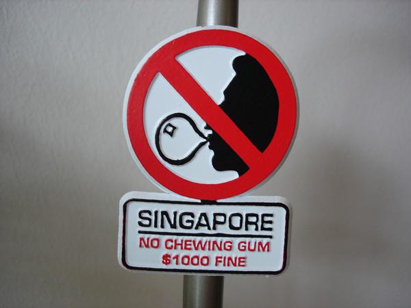 Kẹo cao su không được cho phép tại Singapore