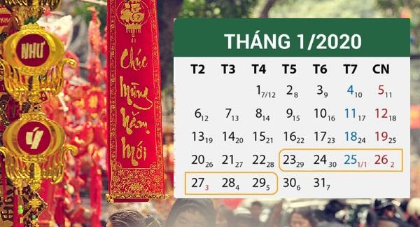 Lịch nghỉ Tết âm lịch 2020