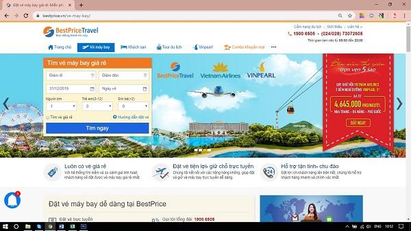 Trang đặt vé máy bay tại website bestprice.vn