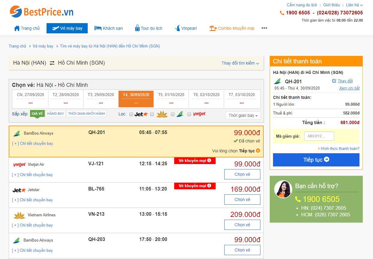 Đặt vé máy bay trên hệ thống BestPrice.vn