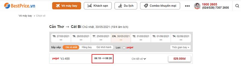 Đặt vé máy bay giá rẻ tại Cần Thơ đi Hải Phòng tại website Bestprice.vn
