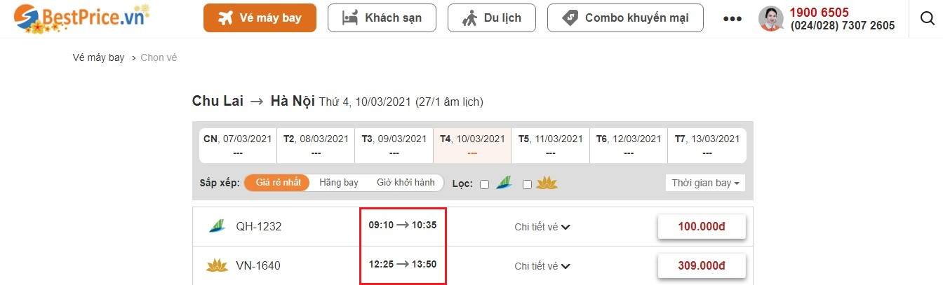 Thời gian bay từ Chu Lai đến Hà Nội tại website bestprice.vn