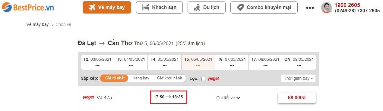 Đặt vé máy giá rẻ từ Đà Lạt đến Cần Thơ tại website BestPrice.vn