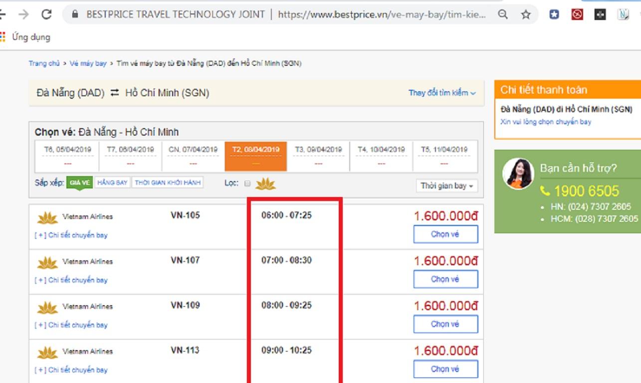Đặt vé máy bay từ Đà Nẵng đi Hồ Chí Minh tại website bestprice.vn