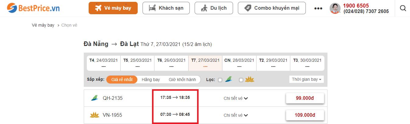 Đặt vé máy bay Đà Nẵng đi Đà Lạt tại website bestprice.vn