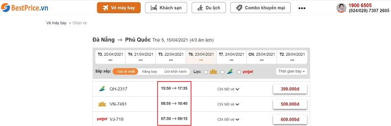 Đặt vé máy bay giá rẻ Đà Nẵng đi Phú Quốc tại website bestprice.vn