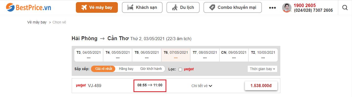 Đặt vé máy bay giá rẻ từ Hải Phòng đến Cần Thơ tại BestPrice.vn