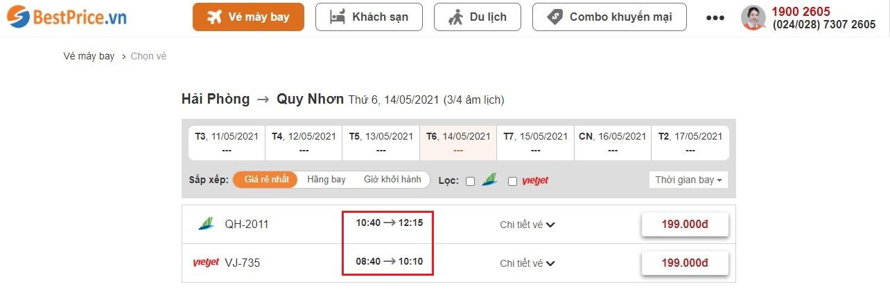Đặt vé máy bay giá rẻ Hải Phòng đi Quy Nhơn tại website BestPrice.vn