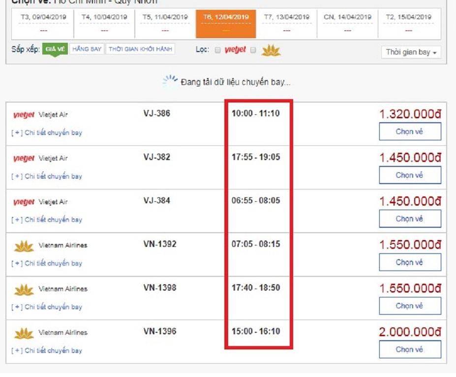 Đặt vé máy bay từ Hồ Chí Minh đi Bình Định tại website bestprice.vn