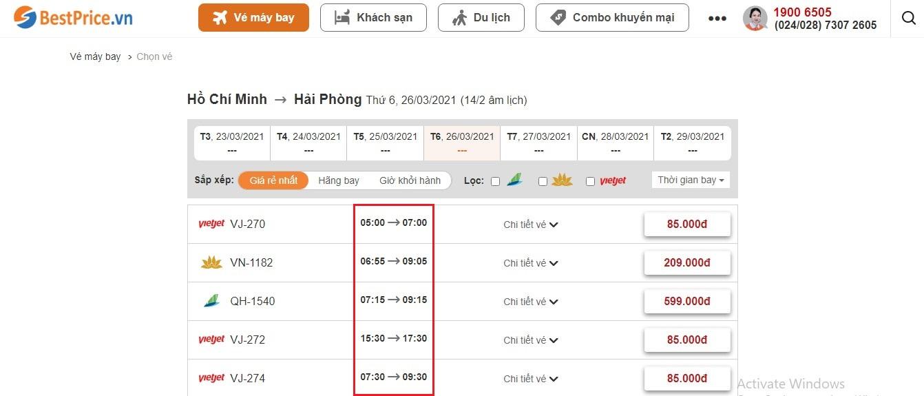 Thời gian bay từ Hồ Chí Minh tới Hải Phòng tại website bestprice.vn