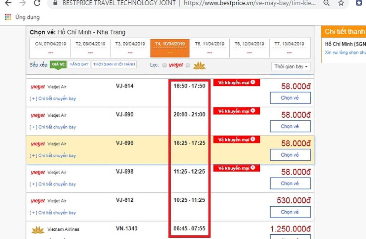 Đặt vé máy bay từ Hồ Chí Minh đi Nha Trang tại website bestprice.vn