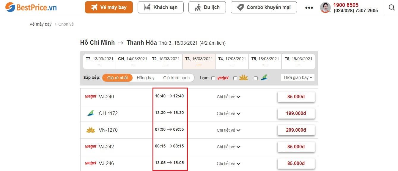 Đặt vé máy bay từ Hồ Chí Minh tới Thanh Hóa tại website bestprice.vn