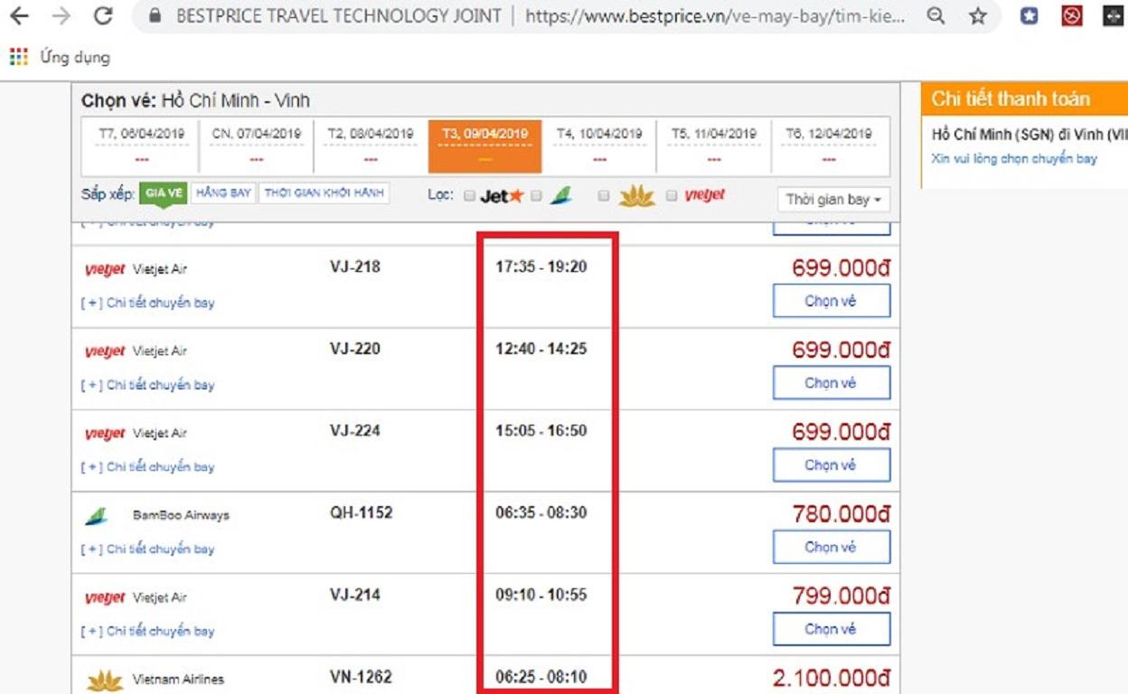 Đặt vé máy bay từ Hà Nội đi Hồ Chí Minh tại website bestprice.vn