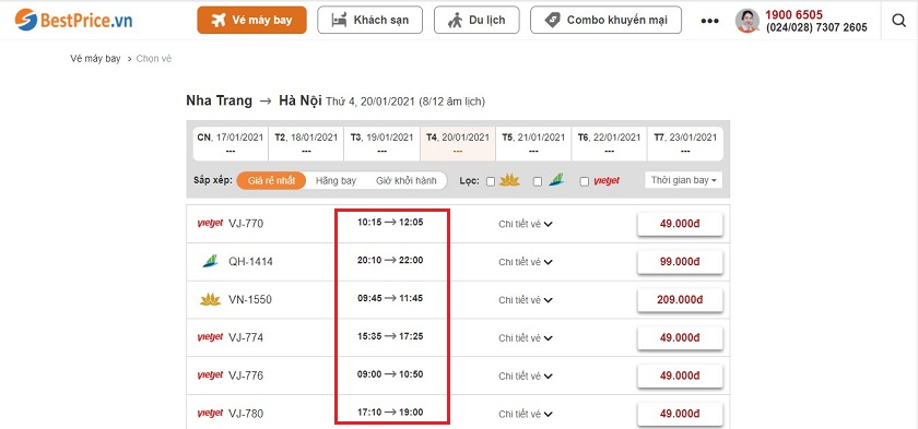 Đặt vé máy bay từ Nha Trang đi Hà Nội tại website bestprice.vn