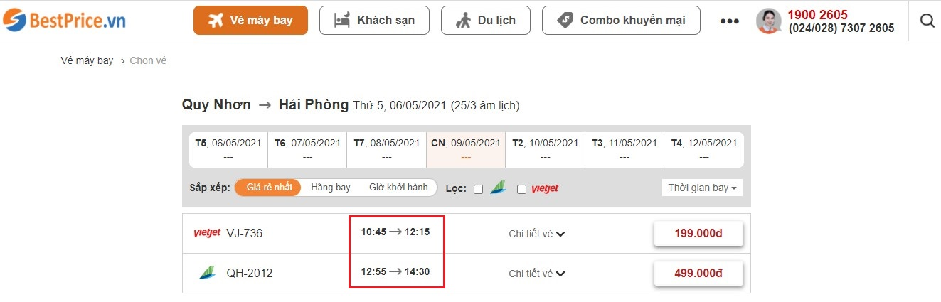 Đặt vé máy bay giá rẻ Quy Nhơn đi Hải Phòng tại website BestPrice.vn